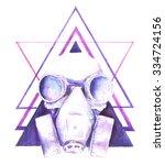 watercolor steampunk skull gas... | Shutterstock . vector #334724156