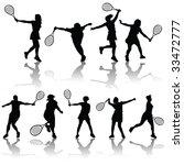 vector tennis players | Shutterstock .eps vector #33472777