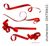 shiny red ribbon on white... | Shutterstock .eps vector #334730612