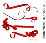shiny red ribbon on white... | Shutterstock .eps vector #334730612