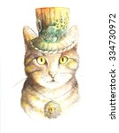 watercolor steampunk cat in the ... | Shutterstock . vector #334730972