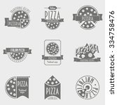 vector illustration pizza logo... | Shutterstock .eps vector #334758476