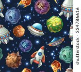 comic space with planets and... | Shutterstock .eps vector #334786616
