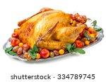 garnished roasted turkey on... | Shutterstock . vector #334789745