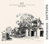 hue  vietnam  southeast asia.... | Shutterstock .eps vector #334792496