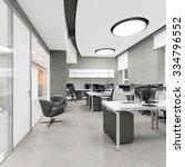 empty modern office interior... | Shutterstock . vector #334796552