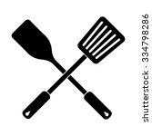 crossed spatula and slotted... | Shutterstock .eps vector #334798286