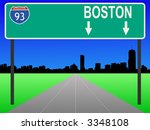 Boston skyline and interstate 93 sign illustration