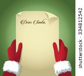santa reads a letter with copy... | Shutterstock .eps vector #334812542
