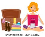 adult,art,bunk,cartoon,chores,clip art,clipart,cutout,eps,folding,house chores,housework,illustration,isolated,light work