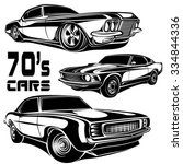 retro cars muscle  70s set... | Shutterstock .eps vector #334844336