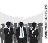 business meeting with speech... | Shutterstock .eps vector #334847192