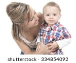 mother with son. the kid have a ... | Shutterstock . vector #334854092