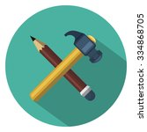 hummer pencil flat icon