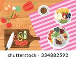 a vegetarian meal on wooden... | Shutterstock .eps vector #334882592