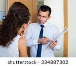 debts collector and upset...   Shutterstock . vector #334887302