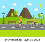 man and woman riding bikes in... | Shutterstock .eps vector #334891436