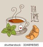 hand drawn vector ceramic tea... | Shutterstock .eps vector #334898585