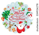 christmas characters label ... | Shutterstock .eps vector #334926278