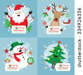 christmas characters with... | Shutterstock .eps vector #334926356