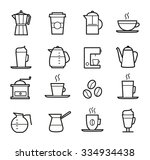 coffee icons set   thin line... | Shutterstock .eps vector #334934438