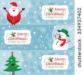 santa claus  snowman  tree ... | Shutterstock .eps vector #334937402