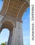 famous arc de triomphe  paris ... | Shutterstock . vector #334954862