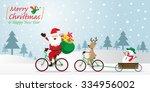 santa claus  reindeer  snowman... | Shutterstock .eps vector #334956002
