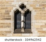 Stone Window With Stained Glas...