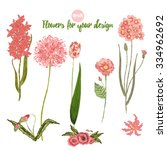 Set Of Vintage Flowers With...