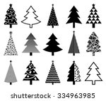 christmas tree icon collection. ... | Shutterstock .eps vector #334963985