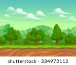 cute cartoon seamless landscape ... | Shutterstock . vector #334972112