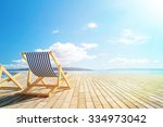 pool deck with lounge chairs... | Shutterstock . vector #334973042