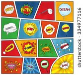 set of comic sound effects.... | Shutterstock .eps vector #334977116