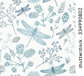 Dragonfly seamless pattern. Dragonfly background. Vector illustration
