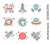 cosmos exploration sings set.... | Shutterstock .eps vector #335001596