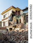 earthwuake ruins of a house.... | Shutterstock . vector #335024582