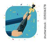 opening a a bottle of champagne.... | Shutterstock .eps vector #335036378