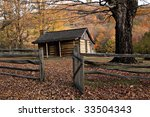 Autumn Mountains With Log Cabin....