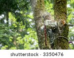 man cutting tree down with... | Shutterstock . vector #3350476