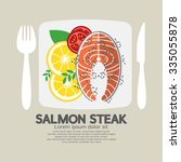 top view of salmon steak vector ... | Shutterstock .eps vector #335055878
