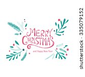 merry christmas greeting card.... | Shutterstock .eps vector #335079152