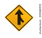 lanes merging right traffic sign | Shutterstock . vector #335080955