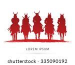 silhouette  samurai warrior... | Shutterstock .eps vector #335090192