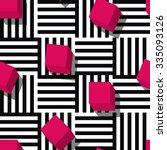 Vector seamless geometric pattern. Flat style pink cube and black, white striped square background. Trendy design concept for fashion textile print. | Shutterstock vector #335093126
