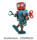 retro robot wound up with a key.... | Shutterstock . vector #335098232