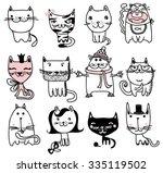 set of 12 vector doodle cute... | Shutterstock .eps vector #335119502