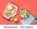 top shot of salad with fresh... | Shutterstock . vector #335128262