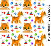 seamless pattern with cats and... | Shutterstock .eps vector #335132072