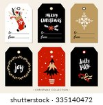 christmas gift tag with... | Shutterstock .eps vector #335140472
